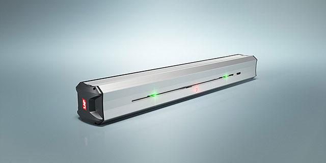 Abbildung eines SERVOLASER Xpert mit zwei grünen beweglichen Linien und einer roten feststehenden Linie