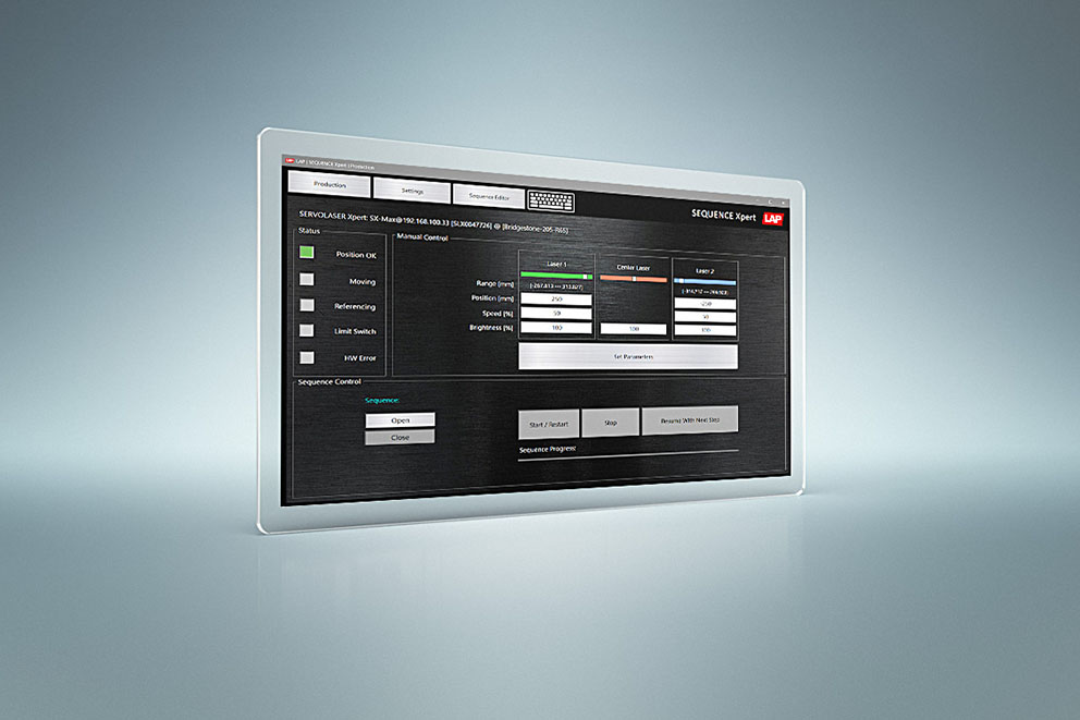 SEQUENCE Xpert control software for the SERVOLASER Xpert laser system