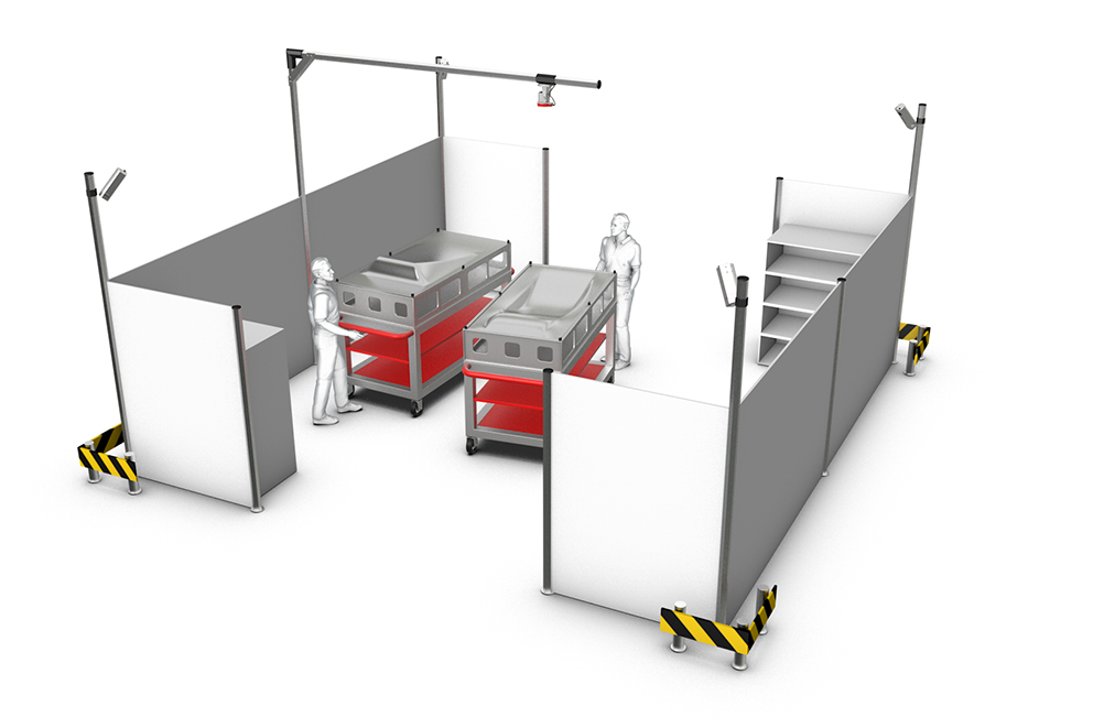 Interworking of CAD-PRO laser projectors and DTEC-PRO camera system in a production cell