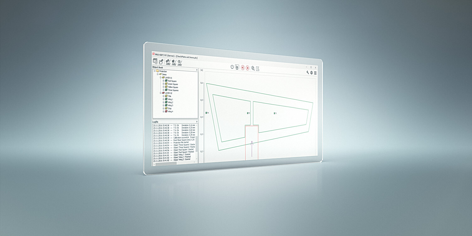 screenshot of LAP PRO-SOFT projection control software